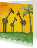 Vrolijke kinderkaart met drie giraffes