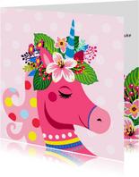 Vrolijke, kleurrijke verjaardagskaart met unicorn en bloemen