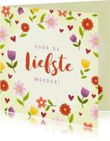 Vrolijke moederdagkaart met bloemen en hartjes