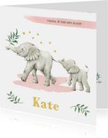 Vrolijke olifantjes op botanisch geboortekaartje zusje