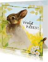 Paaskaarten - Vrolijke paaskaars met konijn