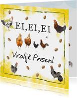 Vrolijke paaskaart met eieren, kippen en hanen