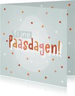 Vrolijke Paaskaart met paasei, confetti en Fijne Paasdagen!
