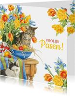 Vrolijke paaskaart met poezen en bloemen