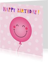Vrolijke roze ballon verjaardagskaart