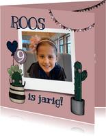 Vrolijke uitnodiging verjaardagsfeestje met cactussen