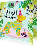 Vrolijke uitnodiging voor kinderfeestje met een hond en foto