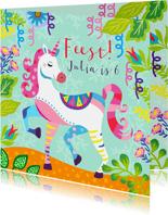 Vrolijke uitnodiging voor kinderfeestje met unicorn en foto