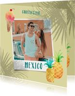 Vrolijke vakantiekaart foto, palm schaduwen en ananassen