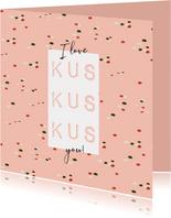 Vrolijke valentijnskaart 3 kussen i love you en confetti