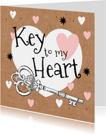 Vrolijke valentijnskaart met geïllustreerde sleutel en hart