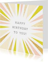 Vrolijke verjaardagskaart met abstracte zon