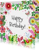 Vrolijke verjaardagskaart met bloemen en vlinders