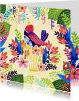 Vrolijke verjaardagskaart met bloemen en vogel op kooi