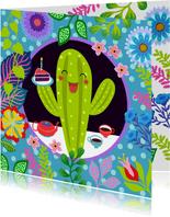 Vrolijke verjaardagskaart met cactus en bloemen