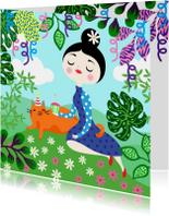 Vrolijke verjaardagskaart met dame, kat, planten en slingers