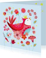 Vrolijke verjaardagskaart met een vogel met kroon