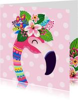 Vrolijke verjaardagskaart met flamingo en bloemen