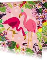 Vrolijke verjaardagskaart met flamingo's en taart