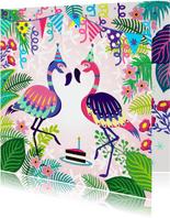 Vrolijke verjaardagskaart met flamingos en planten