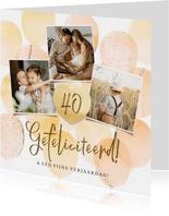 Vrolijke verjaardagskaart met foto's, ballonnen en hart