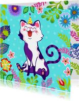 Vrolijke verjaardagskaart met kat, bloemen en planten