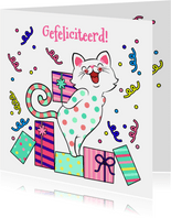 Vrolijke verjaardagskaart met kat met cadeau