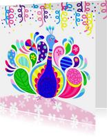 Vrolijke verjaardagskaart met kleurrijke pauw