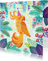 Vrolijke verjaardagskaart met papegaai en bloemen