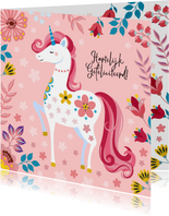 Vrolijke verjaardagskaart met unicorn en bloemen