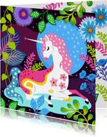 Vrolijke verjaardagskaart met unicorn, sterren en planten