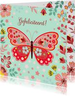 Vrolijke verjaardagskaart met vlinder en bloemen