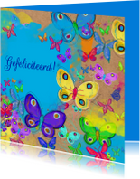 Verjaardagskaarten - Vrolijke verjaardagskaart met vlinders