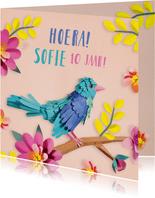 Vrolijke verjaardagskaart met vogeltje