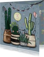 Vrolijke verjaardagskaart vol feestvierende cactussen
