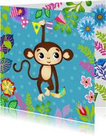 Vrolijke verjaardagskaart voor een kind met lief aapje