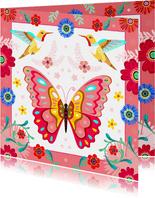 Vrolijke vlinder kolibrie verjaardagskaart