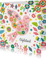 Vrolijke vogel verjaardagskaart met bloemen