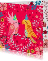 Vrolijke vogels verjaardagskaart