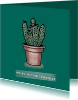 Vrolijke vriendschapskaart met cactussen samen in een pot