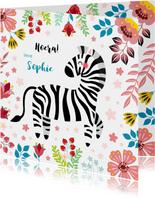 Vrolijke zebra verjaardagskaart kind