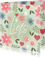 Vrolijke zomaar kaart bloemen en tekst 'Liefs'