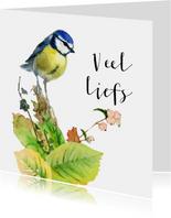 Warme groet met lief vogeltje