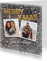 Warme kerstkaart met foto's op hout