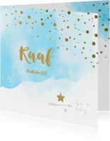 Watercolor confetti geboortekaartje jongen - LO