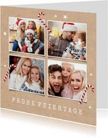 Weihnachtskarte 4 Fotos und Zuckerstangen