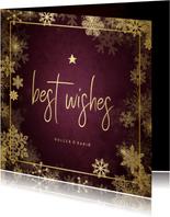 Weihnachtskarte Best Wishes goldene Schneeflocken