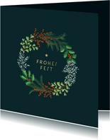 Weihnachtskarte botanischer Weihnachtskranz