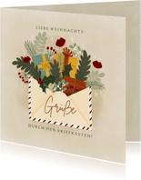 Weihnachtskarte Briefumschlag mit Blumen und Geschenken
