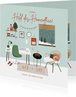 Weihnachtskarte Danke Held des Homeoffice